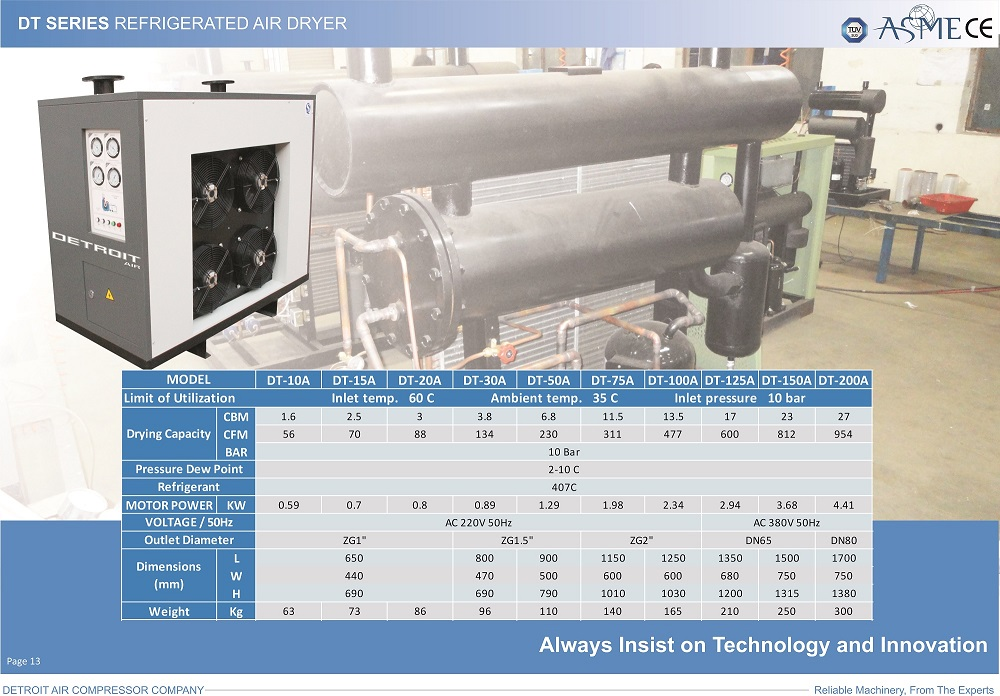 DT Series Refrigerated Air Drier.